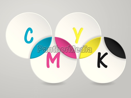 background with 3d circles and cmyk