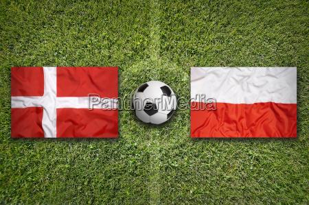 daenemark vs polen flaggen auf fussballplatz
