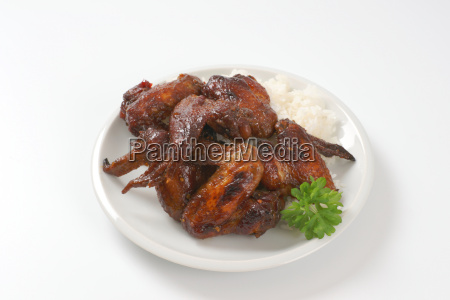 barbecue chicken wings with rice