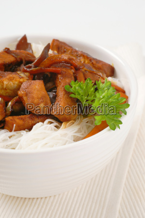 stir fried meat with rice noodles