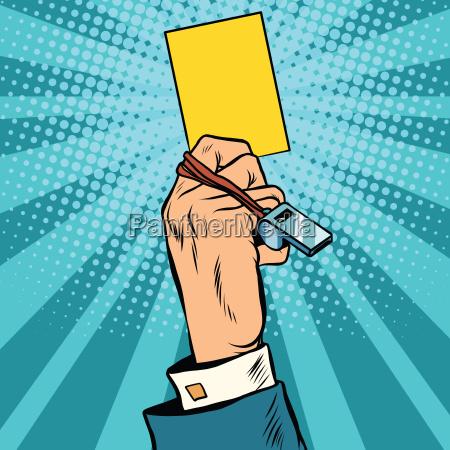 gelbe karte warnung business konzept