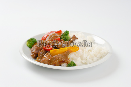 meat and vegetable stir fry with