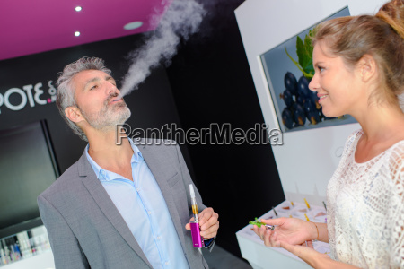 man testing an electronic cigarette