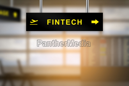 fintech or financial technology on airport