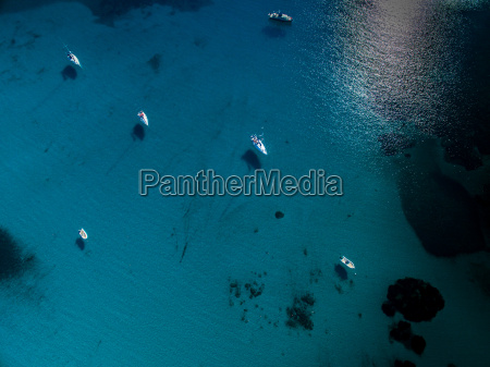 aerial view of boats in a