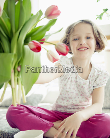 young girl and flower portrait