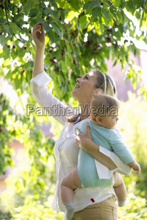 mother picking fruit and holding baby