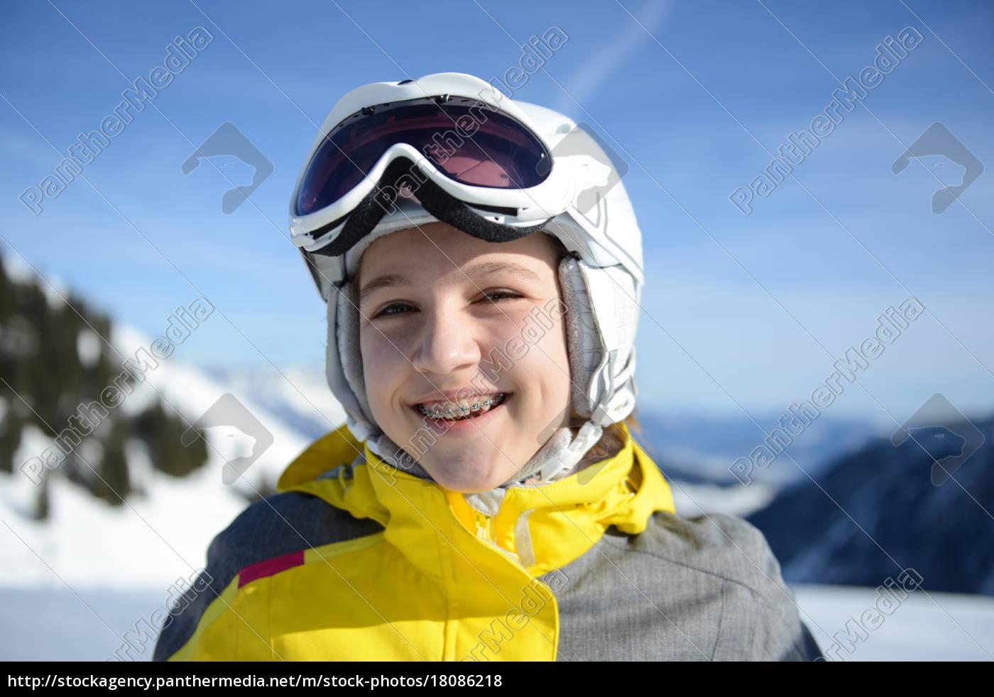 teenage, girl, smiling, on, skiing, holiday, - 18086218