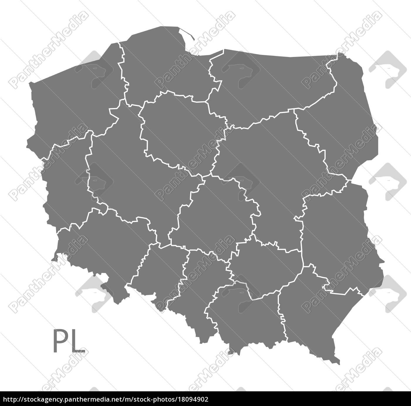polen, karte, mit, den, regionen, grau - 18094902