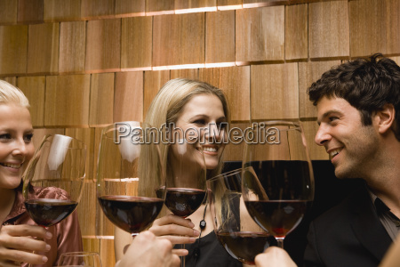 young friends toasting wine at dinner