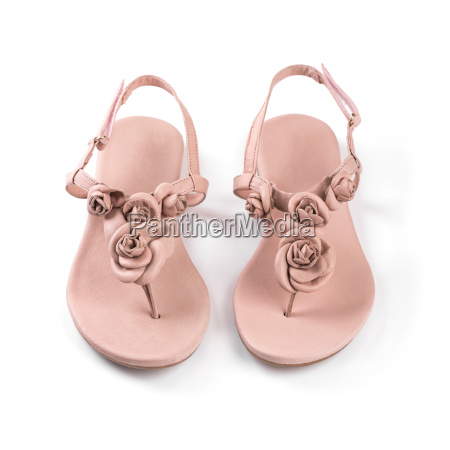 pink leather woman summer sandals isolated