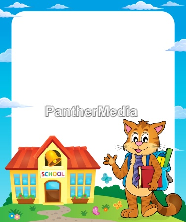 school cat theme frame 1