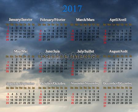 kalender fuer 2017 auf dem hintergrund