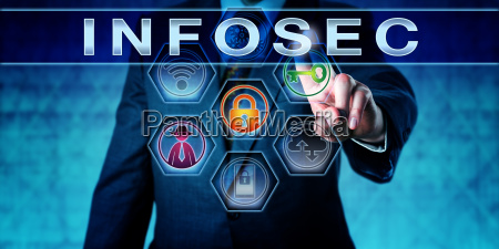 information security officer pressing infosec