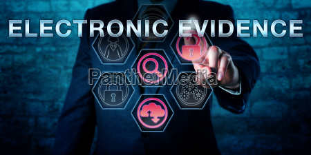 forensic examiner pushing electronic evidence