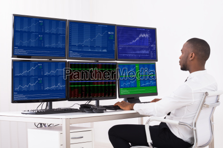 businessman analyzing data in office