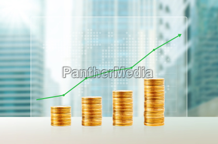success in business concept gold coin