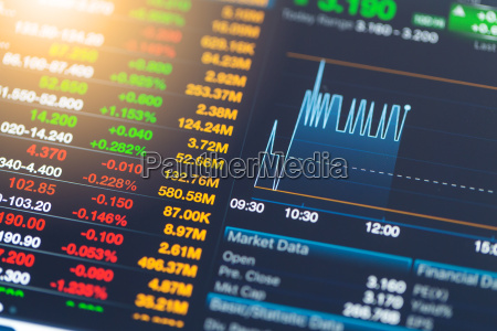 stock market information on tablet with