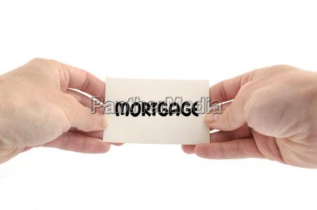 mortgage text konzept
