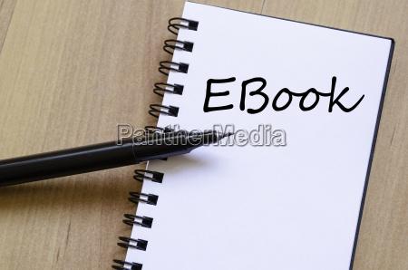 ebook write on notebook