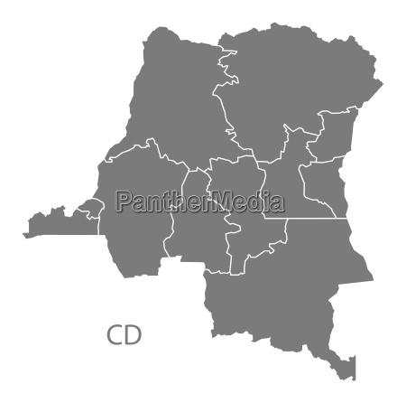 demokratische republik kongo provinzen karte grau