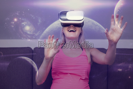 young woman traveling in space using