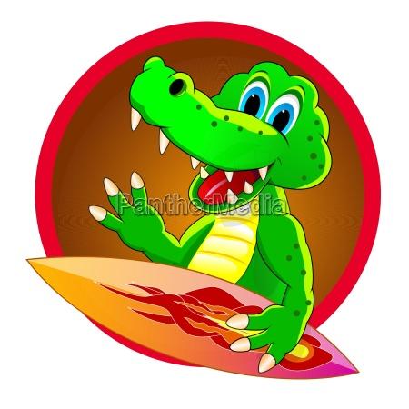 cartoon crocodile surfer