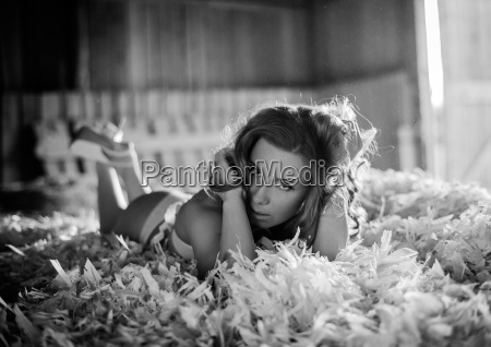pretty country girl in hay