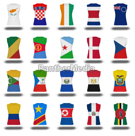 zusammenstellung von nationalen flagge shirt symbol