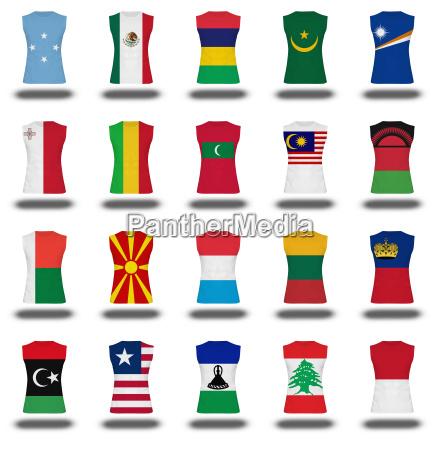zusammenstellung von staatsangehoerigen flagge t symbol