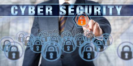enterprise executive pressing cyber security