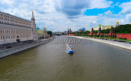 moscow cityscape with kremlin and river