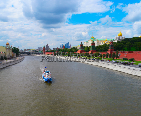 cityscape of moscow with kremlin and