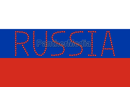 russian flag and word russia from