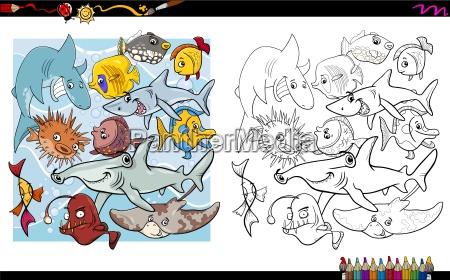fish characters coloring book