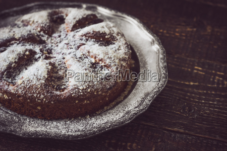 cake with icing sugar on the