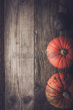 pumpkins and turnip on the wooden