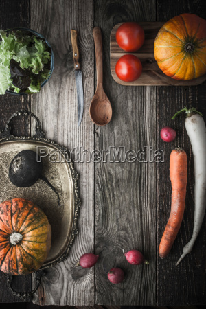 vegetable mix with vintage tray and