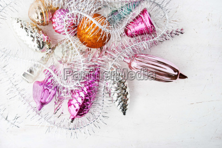 christmas decoration on the white table