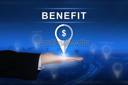 benefit button on blurred background