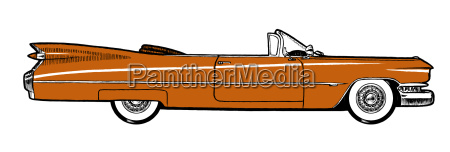 orange classic retro car isolated on