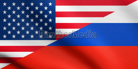 american and russian flags together with