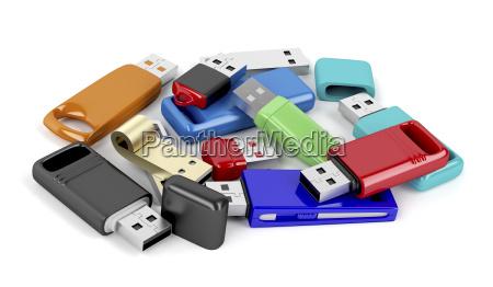 bunch of usb flash drives