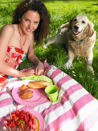 woman having a picnic in the
