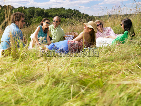group of friends having a picnic