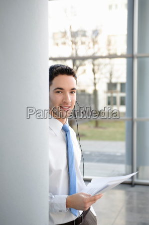 young business man in office headset