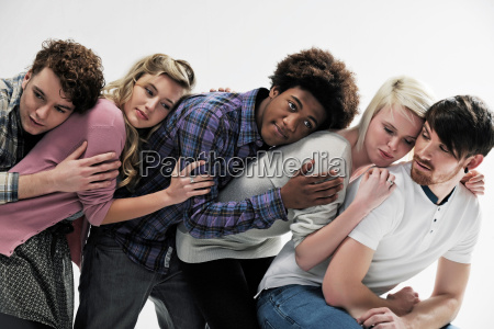 5 young people supporting each other