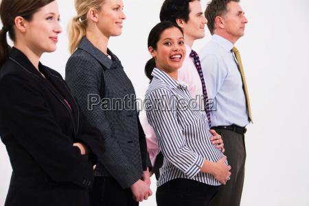 pregnant happy women in line of