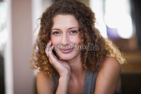 romantic portrait of a woman smiling