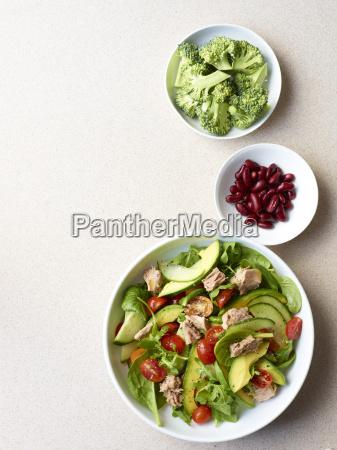 still life of tuna salad with
